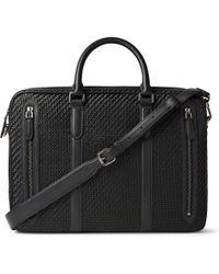 Ermenegildo Zegna - Pelle Tessuta Leather And Shell Briefcase - Lyst