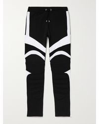 Balmain Logo-embossed Panelled Cotton-jersey Joggers - Black