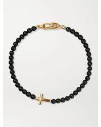 David Yurman Cross Station Onyx And 18-karat Gold Beaded Bracelet - Black