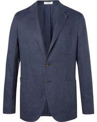 Boglioli - Navy Slim-fit Unstructured Basketweave Linen And Cotton-blend Blazer - Lyst