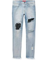 424 Skinny-fit Embroidered Distressed Nubuck-panelled Denim Jeans - Blue