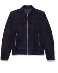 MR P. Suede Blouson Jacket - Blue