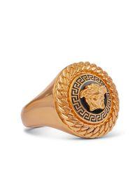 Versace Medusa Gold-tone Signet Ring - Metallic