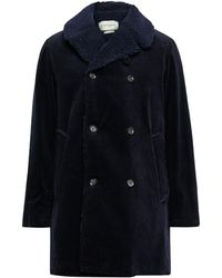 Oliver Spencer Newington Double-breasted Faux Shearling-lined Cotton-corduroy Coat - Blue