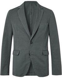 Officine Generale Slim-fit Unstructured Garment-dyed Cotton And Linen-blend Suit Jacket - Grey
