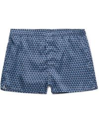 Derek Rose Brindisi Printed Silk Boxer Shorts - Blue