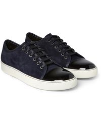 Lanvin Cap-toe Suede And Patent-leather Trainers - Blue