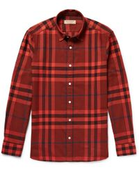Burberry - Checked Cotton-flannel Shirt - Lyst