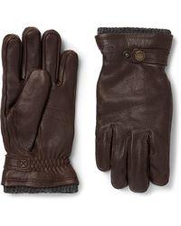Hestra Utsjö Fleece-lined Full-grain Leather Gloves - Brown