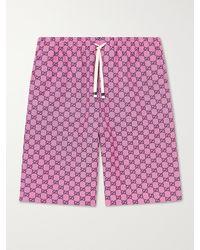Gucci Wide-leg Logo-jacquard Cotton-blend Canvas Drawstring Shorts - Pink