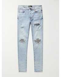 Amiri Mx1 Skinny-fit Lamé-panelled Distressed Jeans - Blue