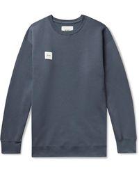 WTAPS Home Base Logo-appliquéd Fleece-back Cotton-blend Jersey Sweatshirt - Blue