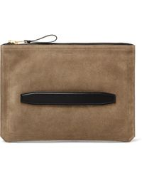 Tom Ford Leather-trimmed Suede Pouch - Brown
