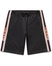 Gucci Webbing-trimmed Tech-jersey Shorts - Black