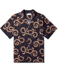 Desmond & Dempsey Camp-collar Printed Organic Cotton Pyjama Shirt - Blue