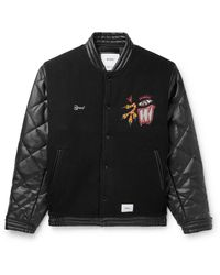 WTAPS Canal Appliquéd Wool-blend And Quilted Faux-leather Bomber Jacket - Black