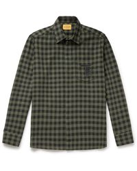 Tod's Logo-embroidered Checked Cotton-flannel Shirt - Green