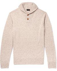 J.Crew - Shawl-collar Mélange Merino Wool-blend Sweater - Lyst