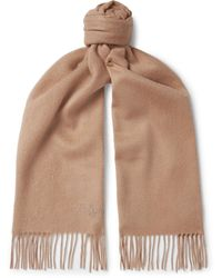 Mulberry Fringed Logo-embroidered Wool Scarf - Multicolour
