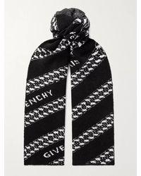 Givenchy Logo-jacquard Wool-blend Scarf - Black