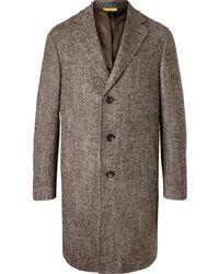 Canali Wool-blend Herringbone Overcoat - Brown