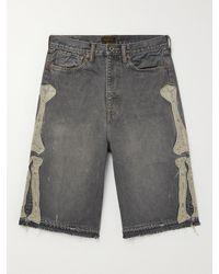 Kapital Wide-leg Distressed Appliquéd Denim Shorts - Black