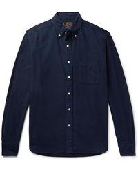 Beams Plus Button-down Collar Cotton-flannel Shirt - Blue