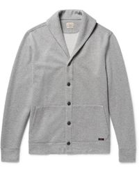 Faherty Brand | - Shawl-collar Mélange Fleece-back Cotton-blend Cardigan - Gray | Lyst