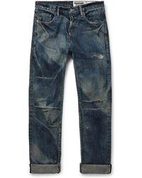Neighborhood Distressed Selvedge Denim Jeans - Blue