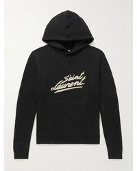 Saint Laurent Logo-flocked Cotton-jersey Hoodie - Black