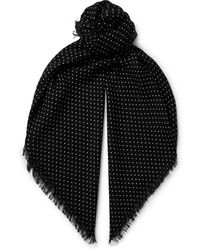 Tom Ford Polka-dot Wool, Silk And Cashmere-blend Scarf - Black