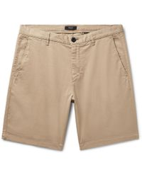 Theory Zaine Garment-washed Cotton-blend Twill Shorts - Natural