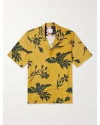 Paul Smith Camp-collar Printed Woven Shirt - Yellow