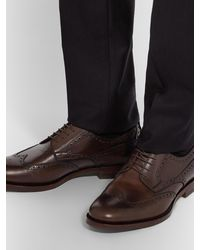 Gucci Stripe-trimmed Leather Wingtip Brogues - Brown