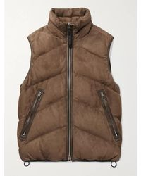 Tom Ford Quilted Suede Down Gilet - Brown