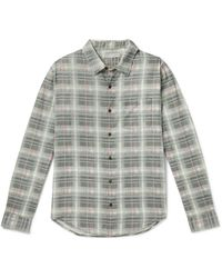 Outerknown Highline Checked Cotton And Linen-blend Flannel Shirt - Green