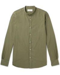 Officine Generale Gaspard Grandad-collar Garment-dyed Cotton Shirt - Green