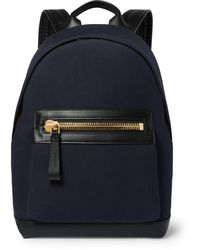 Tom Ford Canvas And Leather Backpack - Blue