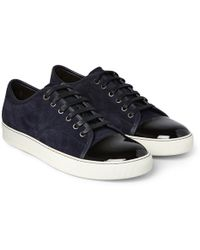 Lanvin - Cap-toe Suede And Patent-leather Sneakers - Lyst