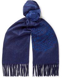 Berluti Embroidered Cashmere Scarf - Blue
