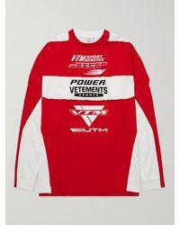 Vetements Logo-print Panelled Cotton-jersey T-shirt - Red