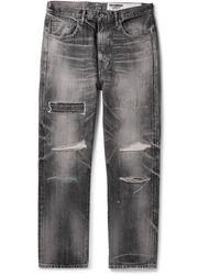 Neighborhood Claw Mod Savage Slim-fit Distressed Embroidered Denim Jeans - Black