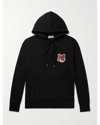Maison Kitsuné Logo-appliquéd Loopback Cotton-jersey Hoodie - Black