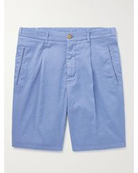 Altea Slub Linen-blend Shorts - Blue