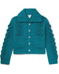 Bottega Veneta Cable-knit Cotton Cardigan - Blue
