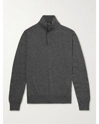 Ermenegildo Zegna Slim-fit Cashmere Half-zip Mock-neck Jumper - Grey