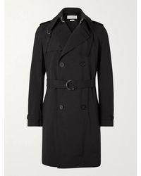 Alexander McQueen Double-breasted Gabardine Trench Coat - Black