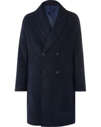 Mp Massimo Piombo Shawl-collar Double-breasted Checked Alpaca-blend Coat - Blue