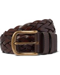 Anderson & Sheppard 3.5cm Woven Leather Belt - Brown