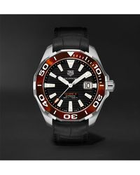 Tag Heuer Aquaracer Automatic 43mm Stainless Steel And Croc-effect Rubber Watch - Black